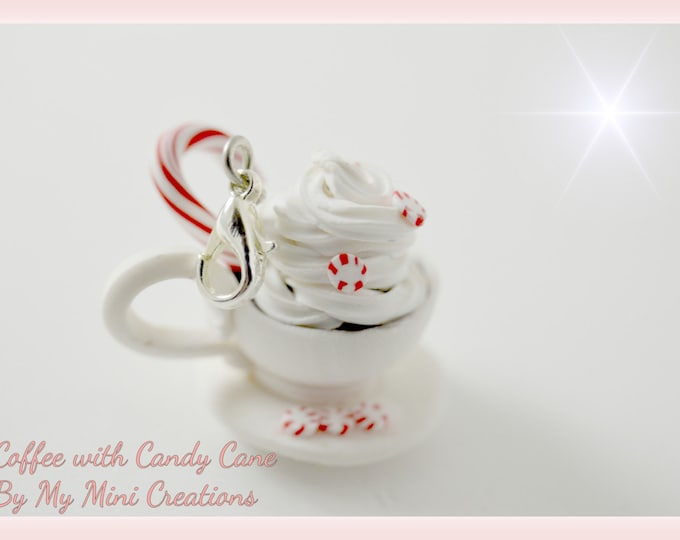 Coffee with Candy Cane Charm, Polymer clay, Miniature food, Miniature Food Jewelry