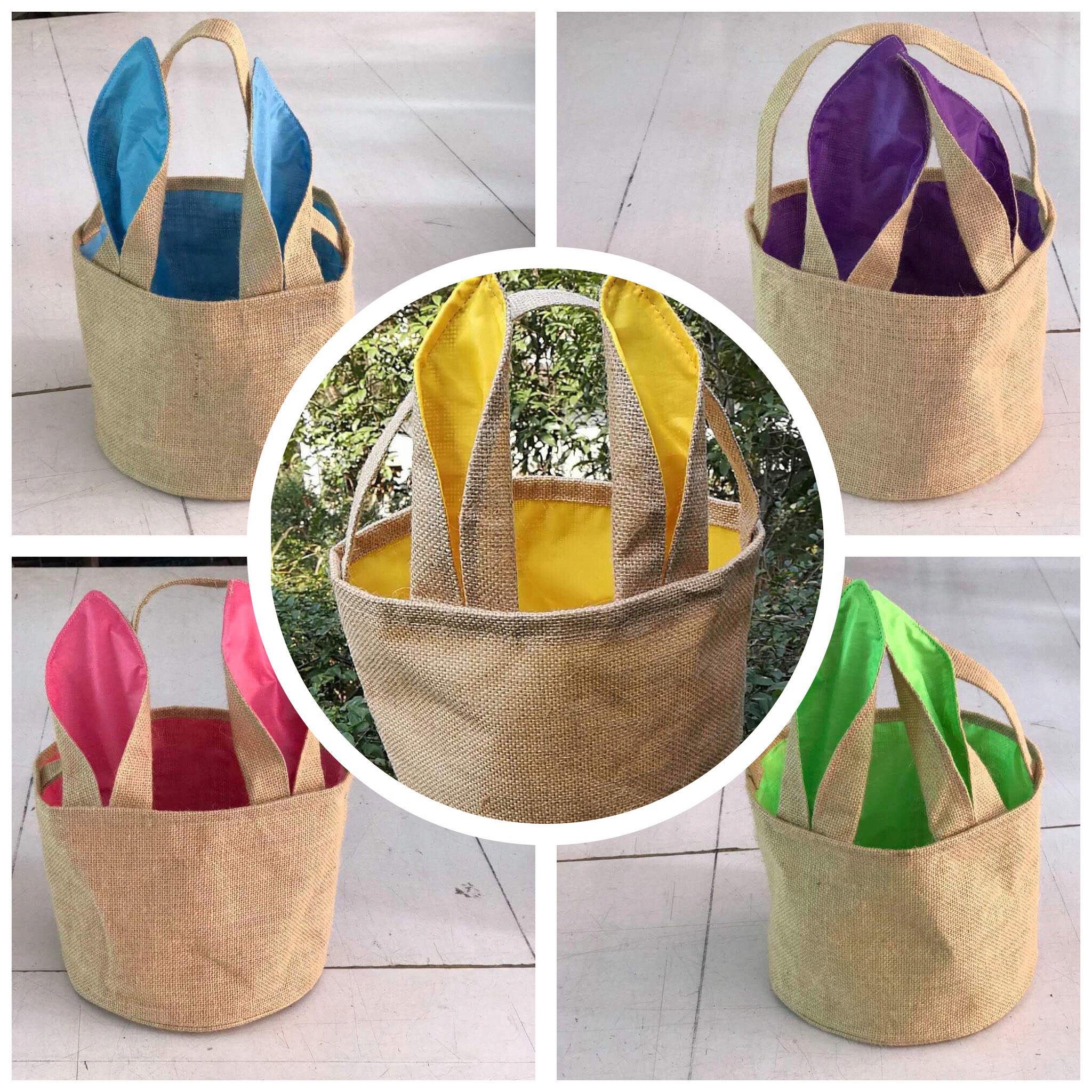 Wholesale burlap easter basket satin bunny ears easter egg description wholesale burlap bunny easter baskets negle Image collections