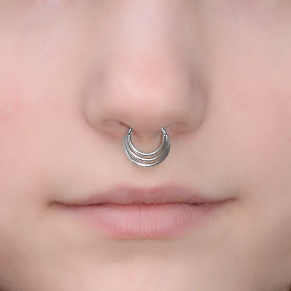 Septum Ring 16g - Silver Nose Piercing - Septum Piercing - Tragus Ring - Helix Hoop - Cartilage Earring - Nose Ring - Septum Jewelry 16g