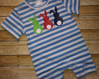 Baby Boys and Toddler Boys Bunny Romper, Baby Boys Easter Romper, Baby Boys Easter Clothing, Toddler Boys Easter Clothing