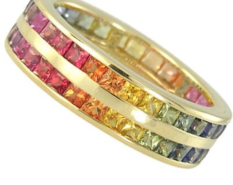 Multicolor Rainbow Sapphire Double Row Eternity Ring 18K Yellow Gold (11ct tw) : sku 459-18k-yg