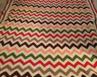 Vintage Queen sized Chevron Afghan