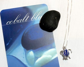 Cobalt Sea Glass Honu Necklace