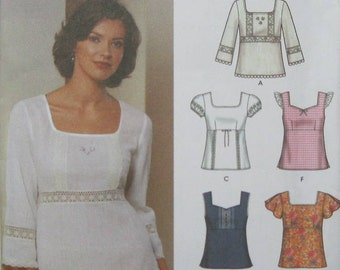 Simplicity 5683 - Six tops made easy for women sizes 4,6,8,10. This is a pullover top with sleeve and neck variations. New and uncut.