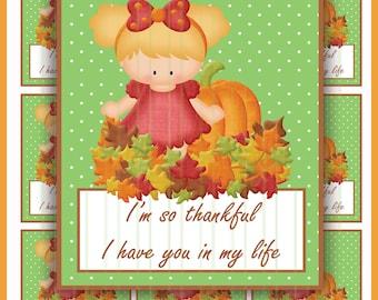 PRINTABLE thankful Favor Tags/Fall Gift Tags/Fall ATC/Pumpkin Diecuts/Fall diecuts/Thanksgiving Tags/Fall leaves/Pumpkin Cards