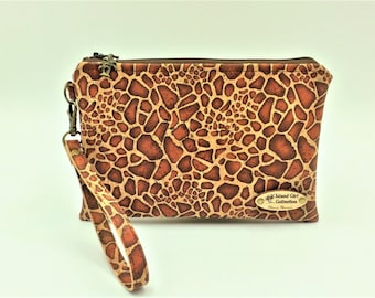 Clutch,  Cork Clutch, Cork Handbag, Wristlet, Clutch Purse, Evening Bag, Zippered Bag in Giraffe Print - Made in Maui