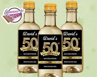 50th Birthday Mini Wine Labels - Gold Mini Wine Bottle - Set of 10