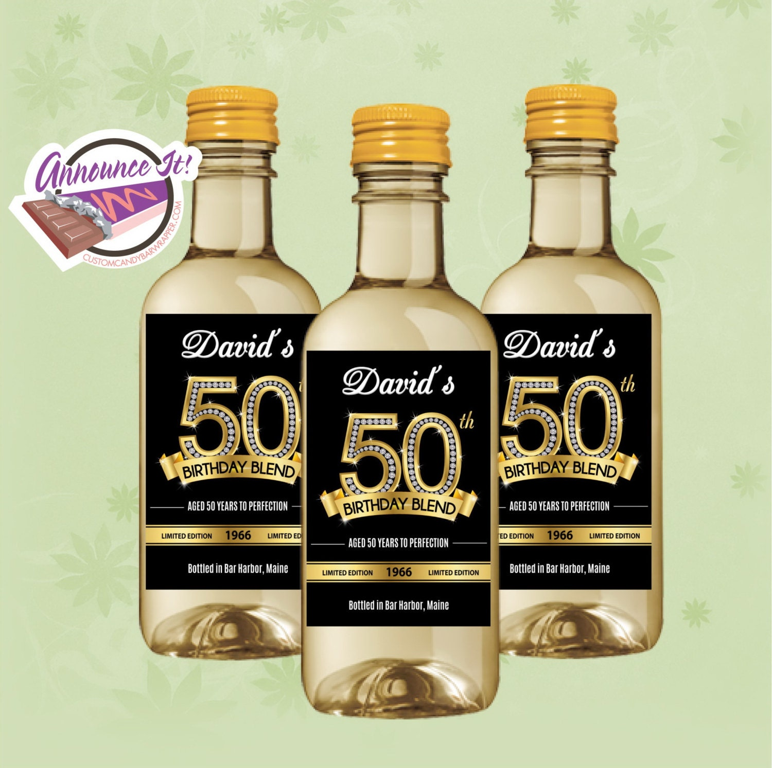 50th Birthday Liquor: 50th Birthday Mini Wine Labels Gold Mini Wine Bottle Set