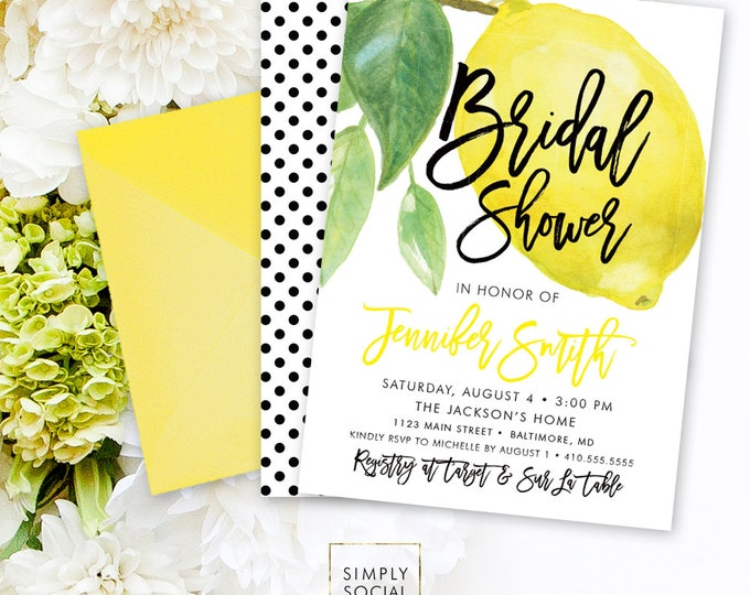 Lemon Bridal Shower Invitation - Fresh Lemon with Black and White Polka Dots Modern Calligraphy Printable Main Squeeze