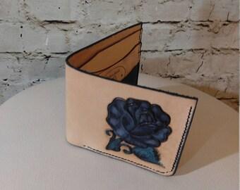Leather bi-fold wallet, tooled black rose design, hand made