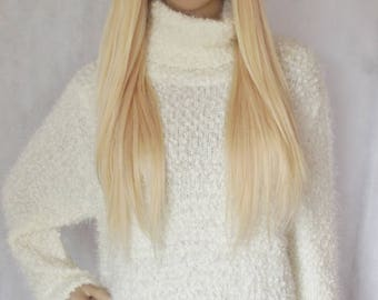 Human hair wig- Prestige Deluxe range U part 3/4 clip in hairpiece, hair addition, lightest blonde, 24 inches long, 400g