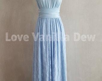Bridesmaid Dress Infinity Dresses Powder Blue Lace Floor Length Maxi Wrap Convertible Dress Wedding Dress