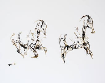 Horse gallop, Animal, Modern Original Fine Art, Contemporary Art, Acrylic ink Painting of a Horse in motion