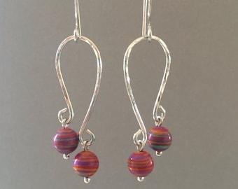 Calsilica Dangle Earrings, Sterling Silver Handmade Earrings