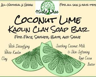 Coconut Lime & Kaolin Clay Vegan Soap Bar • Multi-Purpose: Face, Shower, Bath, Shave • Detoxifies, Softens, Balances Skin (FREE SHIPPING)