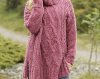 Over-sized turtle-neck with cables in alpaca