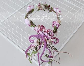 Purple Flower Crown, Lavender Flower Crown, Lilac Flower Crown, Tieback Crown, Bridal Floral Crown, Bridal Headpiece, Bridal Flower Garland