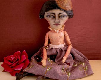 Carol, the Dreamer,  Textile Art Doll, Vintage Doll, Cloth Doll, Posable Doll, OOAK Doll, handpainted doll, Collectible, Wall Art