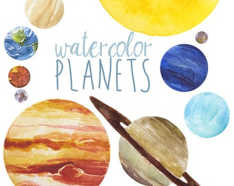 Watercolor Planets Clip Art set, Solar System, Science Clip Art, Universe clipart, Space graphics, Earth Sun Mars Clip art Space Art