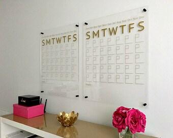 Wall Calendar, Acrylic Calendar, Dry Erase Calendar, Acrylic Wall Calendar, Large Wall Calendar, Monthly Wall Calendar