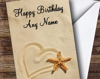 Love Heart Sand Romantic Personalised Birthday Card