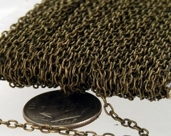 12 ft spool of Antique Brass Finished Round cable chain - 3x2mm - unsoldered link