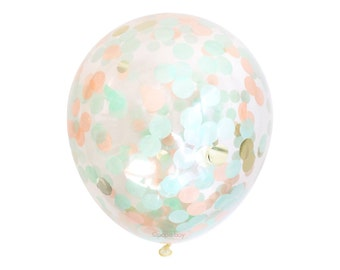 "Confetti Balloon - Peach Mint and Gold - Choose 12, 16, 18, 36 inch - Large & Small - 1"" Circle Filled - Tissue Paper - Nautical Cake Smash"