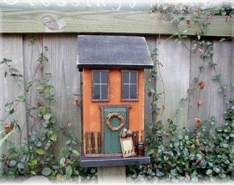 Primitive Folk Art Saltbox Cottage Farmhouse Birdhouse