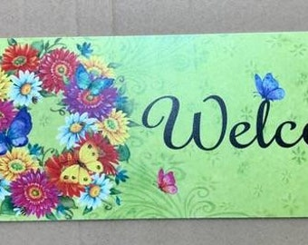 FREE SHIPPING - Welcome Floral Wreath Sign - Summer Wreath Sign