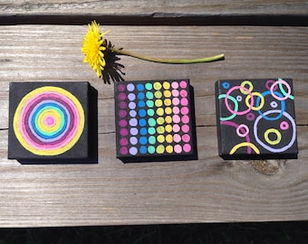 Magnetic Art,Gift,Home Decor,Kitchen Decor,Magnet,Mini Painting,Geometric Painting,Miniature,Painting Set,Handmade,Colorful Painting