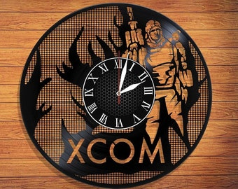 "XCOM Game VINYl RECORD CLOCK made from 12"" Vinyl Record best gift for kids bedroom gift for gamers Enemy Unknown or Enemy Within"