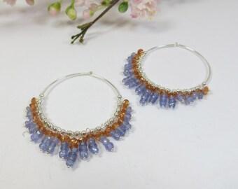 Tanzanite & Sunstone Hoop Earrings, Gemstone Tanzanite w Sunstone Silver Dangle Hoop Earrings, Silver Hoops w Tanzanite and Oregon Sunstone