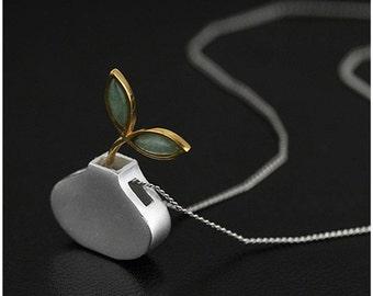 Platinum 925 sterling silver Aventurine vase chain