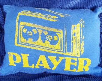 Player-Upcycled Safe-Sex Pillow, w/ Condom & Lube Pockets, OOAK,blue, vintage, radio, cassette, music, old school