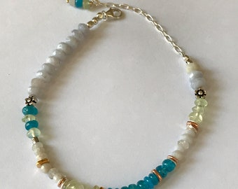 Mothers Day Gift Spring Bracelet Multi Gemstone Beaded Sterling Silver Blue Chalcedony Apatite Peridot Graduation Gift Birthday Gift for Her