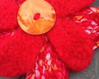 Large Red flower brooch, knitted brooch, felt flower, flower, knitted brooch,