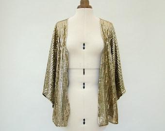 Gold kimono, Kimono Jacket, gold, sparkly, summer fashion, sequin, Glastonbury, Glasto, small, medium, festival clothing, sequin kimono