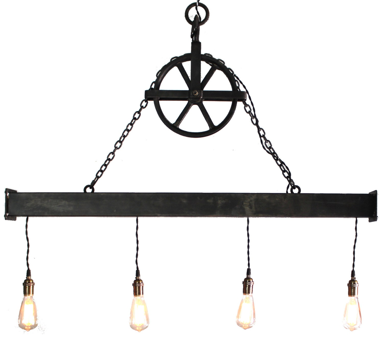 4 light steel beam chandelier with aged pulley handcrafted 4 light steel beam chandelier with aged pulley arubaitofo Choice Image