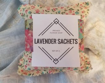 Floral Patterned Lavender Sachets: Assorted Floral Fabric Sachets Filled with Lavender