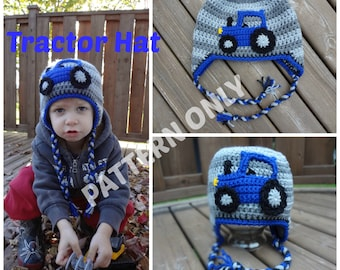 PDF Pattern, Crochet Tractor Hat, 3 Sizes Available