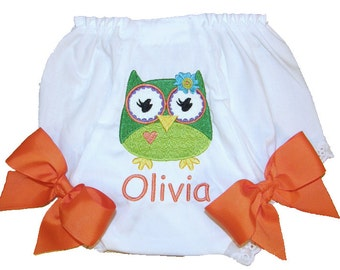 Personalized Baby Girl Diaper Cover, Bloomers Green Owl Design Large Bows
