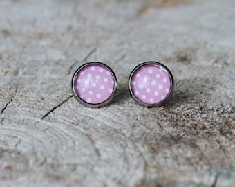 Petites merveilles à pois  // Cute  glass cabochon  polka dot earrings (bo-554)