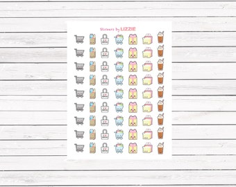 Kawaii face shopping planner stickers for Erin Condren Life Planner, Kikki-k, filofax and more