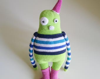 Amigurumi Green Monster Lovey Doll, mercerised cotton, crocheted. 32cm/12,6in