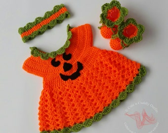 Crochet baby Pattern, Crochet baby Halloween pattern, Crochet baby Dress Set, Crochet headband, Crochet Baby shoes, Baby crochet patterns