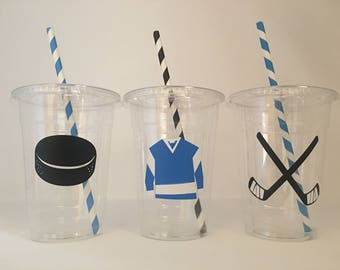 Hockey Party Cups, Hockey Birthday Party Cups, Hockey Party Favors