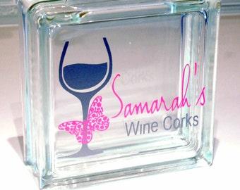 Wine Cork Holder, Wine Cork Glass Block, Personalized Name & Color