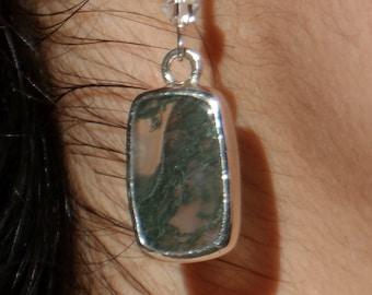 Moss Agate & Fine Silver Earrings