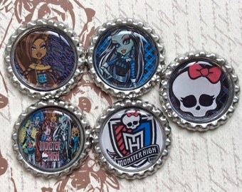 SET of 5 -  Set 2 MONSTER HIGH Bottle Caps For Pendants, Hairbows Hair Bow Centers - Ready to use