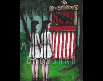 Theater of Crows, Print, Fairy Tale, Forest, Surreal, Blackbirds, Twins, Braided Hair, Puppet Theater, Carrion, Macabre, Dark Art, Weird